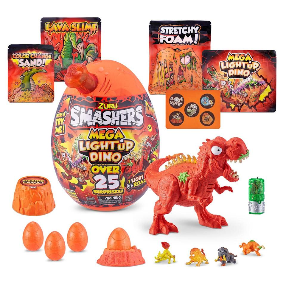 <p>There's lots of fun to be unearthed in each of these eggs! Each Mega Surprise comes a dino to build, light up and do battle. In addition, there are 20 different surprises in each egg, including four Smasher eggs and multiple compounds for sensory experiences.</p><p><em>Ages 4+<br>$25</em><br><em>Available Fall 2021</em></p>