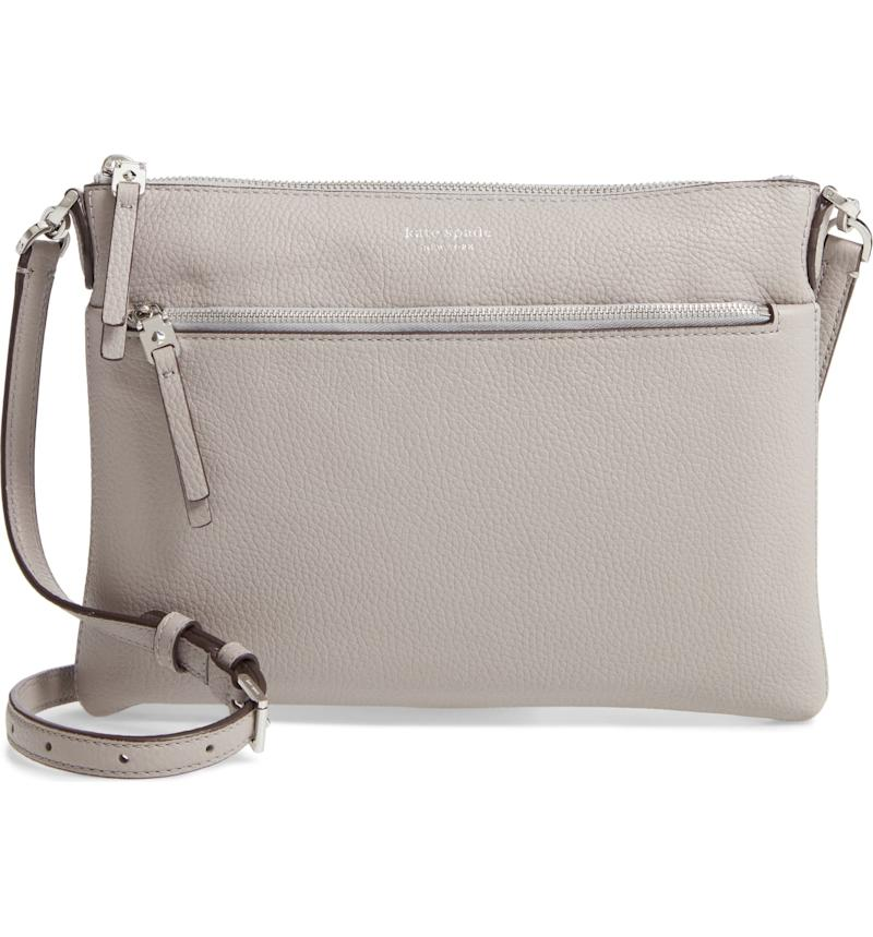 Kate Spade medium polly leather crossbody bag in taupe.