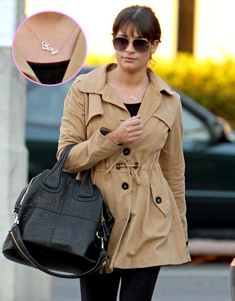 """After their bonding <a target=""""_blank"""" href=""""http://omg.yahoo.com/blogs/relationships/lea-michele-cory-monteith-enjoy-romantic-vacation-paradise-162525821.html """">trip to Hawaii</a> over the holidays, Lea Michele and Cory Monteith are more <em>Glee</em>ful than ever, which is evident by her new boyfriend bling. While getting a mani-pedi in West Hollywood, California, on January 16, the casually-dressed actress had on one stand-out accessory: a silver necklace with her reel/real-life love's first name on it. Talk about keeping her boyfriend close to her heart! """"I really think finding someone that you are best friends with is the secret,"""" Michelle <a target=""""_blank"""" href=""""http://www.lifeandstylemag.com/entertainment/news/glees-lea-michele-boyfriend-cory-monteith-im-dating-my-celebrity-crush#.UPgyH79hkfI """">said to Life & Style</a> this week about Monteith, whom she started dating in 2012. Adding, """"I'm dating my celebrity crush!"""" Let's look at some other stars who have declared their love through their jewelry..."""