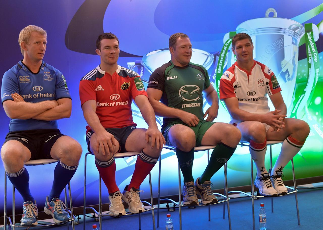 (left-right) Leinster's Leo Cullen, Munster's Peter O'Mahony, Connacht's Michael Swift and Ulster's Johann Muller during the Irish Heineken Cup Launch at Sky Ireland, Dublin.