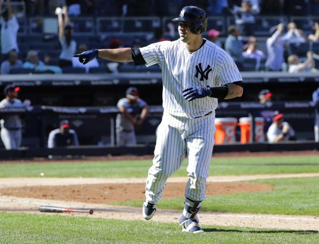 New York Yankees' Gary Sanchez celebrates after hitting the game winning three-run home run during the ninth inning of a baseball game against the Minnesota Twins Thursday, April 26, 2018, in New York. The Yankees won 4-3. (AP Photo/Frank Franklin II)