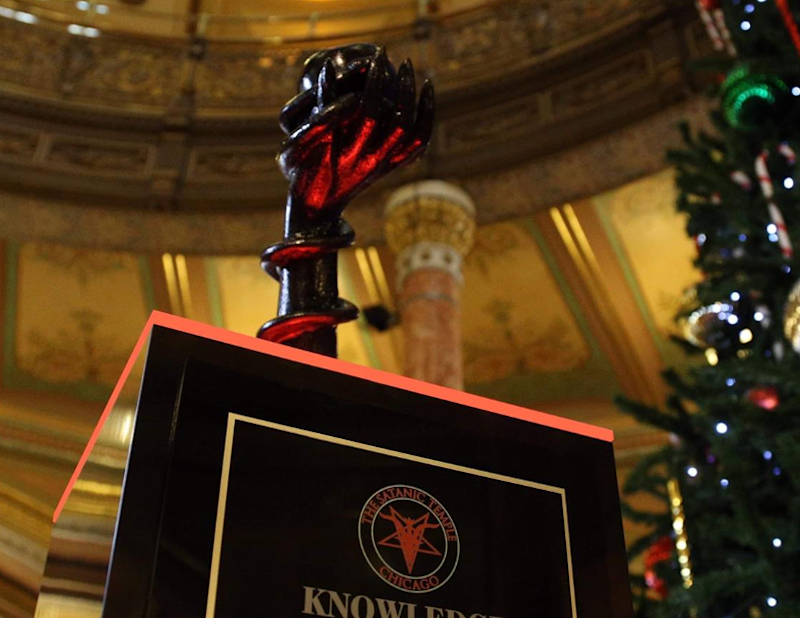 'Knowledge is the Greatest Gift' statue at Illinois Capitol: Facebook/Satanic Temple