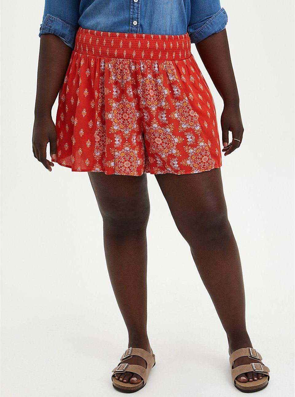 """<p>torrid.com</p><p><strong>$34.12</strong></p><p><a href=""""https://go.redirectingat.com?id=74968X1596630&url=https%3A%2F%2Fwww.torrid.com%2Fproduct%2Fred-medallion-print-gauze-smock-short%2F15051339.html&sref=https%3A%2F%2Fwww.thepioneerwoman.com%2Ffashion-style%2Fg37083925%2Fbest-plus-size-shorts%2F"""" rel=""""nofollow noopener"""" target=""""_blank"""" data-ylk=""""slk:Shop Now"""" class=""""link rapid-noclick-resp"""">Shop Now</a></p><p>These shorts are easy and breezy—a.k.a. the perfect pair for anyone seeking a looser fit and some extra movement. And how cute is the bandana-inspired print?! </p>"""