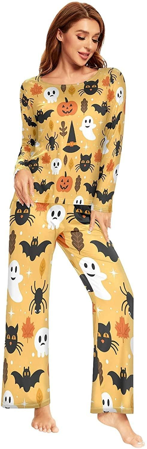 <p>The <span>ALAZA Halloween Pumpkin Ghost Skull Pajamas Sets</span> ($32) will keep you warm and cozy all night long. The two-piece set comes with a long sleeve top and full-length bottoms. </p>