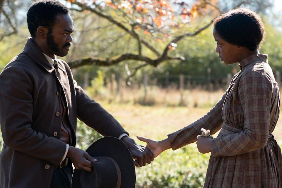 """William Jackson Harper as Royal and Thuso Mbedu as Cora on """"The Underground Railroad."""""""
