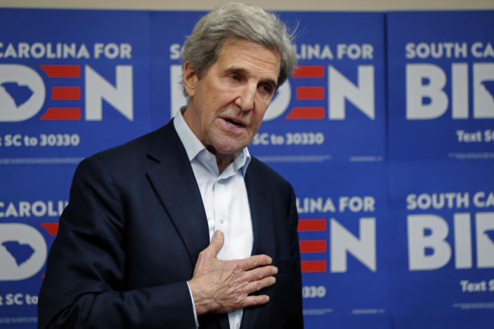 Former Secretary of State John Kerry at a campaign office for Democratic presidential candidate and former Vice President Joe Biden, in Rock Hill, S.C., Wednesday, Feb. 19, 2020. (AP Photo/Gerald Herbert)