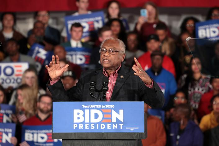 Jim Clyburn speaks at democratic presidential candidate former Vice President Joe Biden's primary night event at the University of South Carolina on February 29, 2020 in Columbia, South Carolina (Getty Images)