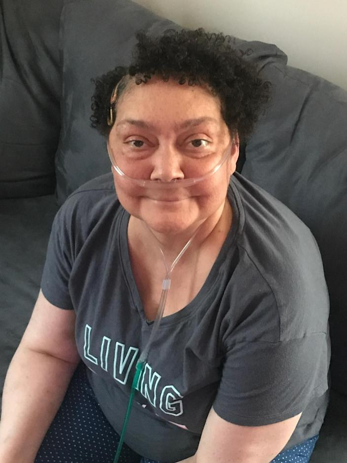 Arielle Reavis's mother, Dina Bailey, in late June. Bailey was hospitalized with coronavirus in May, but tested negative in June. (Photo: Arielle Reavis)