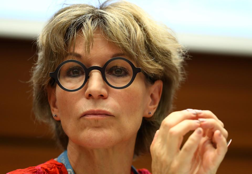 Agnes Callamard, U.N. special rapporteur on extrajudicial executions who issued report on the murder of Saudi journalist Jamal Khashoggi, takes part in a side event called