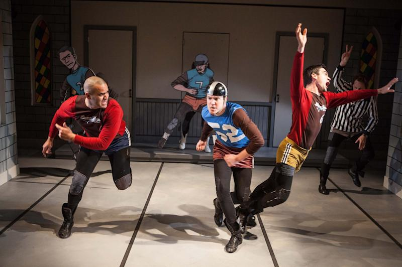 "This publicity photo released by Boneau/Bryan-Brown shows, from left, Christopher Jackson, Patch Darragh, Dan Domingues and Todd Weeks at rear, in a scene from  ""The Jammer"", currently performing off-Broadway at Atlantic Theater Company's Stage 2 in New York.  (AP Photo/Boneau/Bryan-Brown, Kevin Thomas Garcia)"
