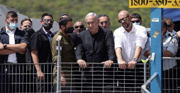 PHOTO: Israeli Prime Minister Benjamin Netanyahu visits Mount Meron, northern Israel, where fatalities were reported among the thousands of ultra-Orthodox Jews gathered for annual commemorations that include all-night prayer and dance, April 30, 2021. (Ronen Zvulun/Pool via Shutterstock)