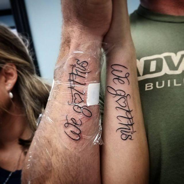"""<p>Celebrate your relationship with a couples tattoo of one of your favorite phrases. I love the forearm placement on this one.</p><p><a href=""""https://www.instagram.com/p/BZu1Om_jmce/?utm_source=ig_embed&utm_campaign=loading"""" rel=""""nofollow noopener"""" target=""""_blank"""" data-ylk=""""slk:See the original post on Instagram"""" class=""""link rapid-noclick-resp"""">See the original post on Instagram</a></p>"""
