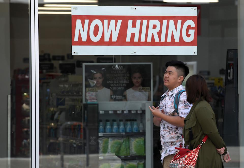 SAN FRANCISCO, CALIFORNIA - JUNE 07: A now hiring sign is posted in the window of a CVS store on June 07, 2019 in San Francisco, California. According to a report by the U.S. Labor Department, The U.S. economy added 75,000 jobs in May compared to the 224,000 jobs that were added in April. The unemployment rate remained at 3.6 percent, a five decade low.(Photo by Justin Sullivan/Getty Images)