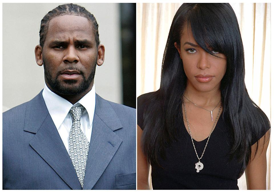 This combination photo shows singer R. Kelly in Chicago on May 9, 2008, and late R&B singer Aaliyah in New York on May 9, 2001.