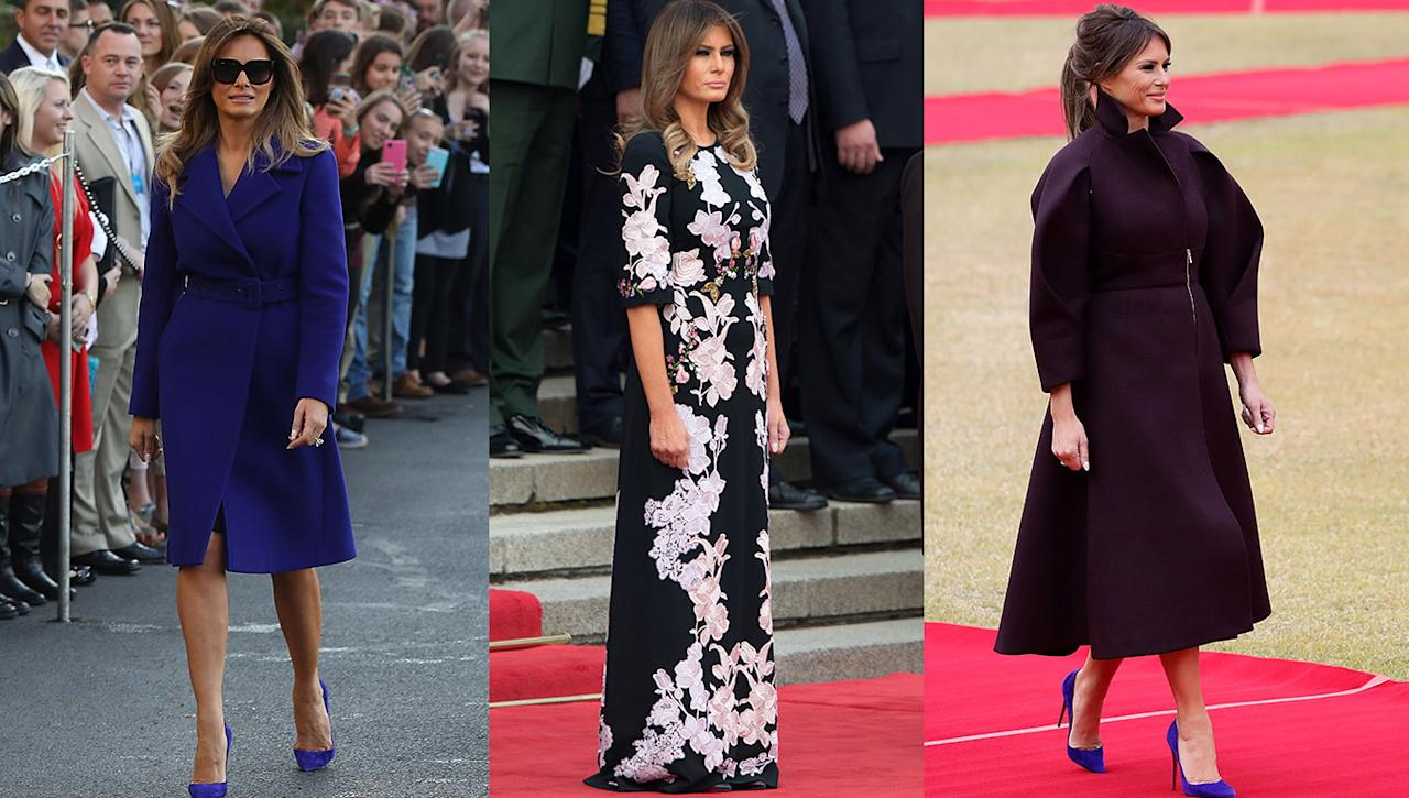 "<p>During the President and First Lady's 12-day tour of Asia, the FLOTUS managed to wear an array of expensive outfits that worked out to cost a jaw-dropping £32,000. An Emilio Pucci coat (far left in photo) cost £1,730, a Dolce & Gabbana dress (centre) around £3,032 and a structured Delpozo coat (right) another £3000 or so. While most celebrities, royals and politicians dress diplomatically when abroad on business, Melania stuck to items from European brands – despite Trump's ""America first"" policy. <em>[Photos: Getty] </em> </p>"