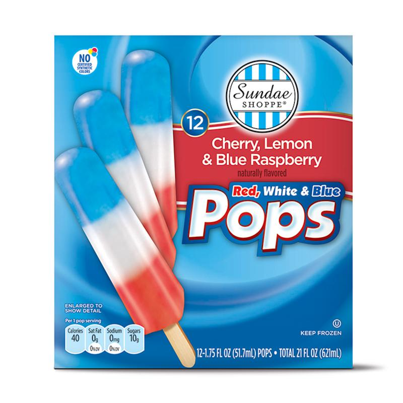 Aldi red white and blue ice pops on white background