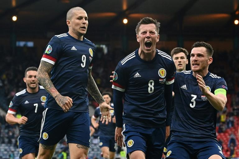 Callum McGregor (centre)scored Scotland's first goal at a major tournament for 23 years
