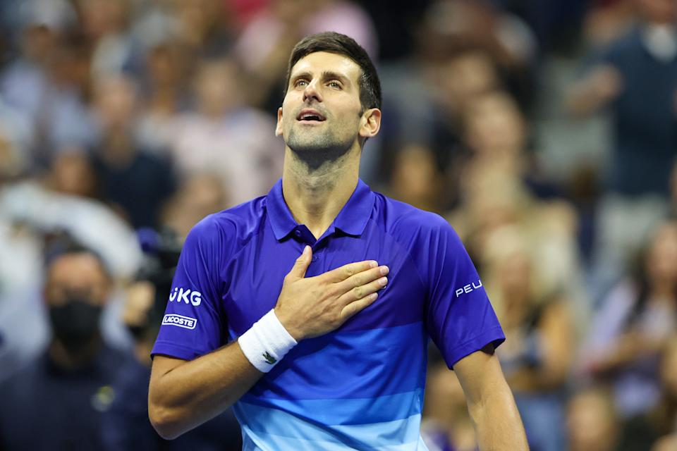 Pictured here, Novak Djokovic celebrates his second round win over Tallon Griekspoor at the US Open.