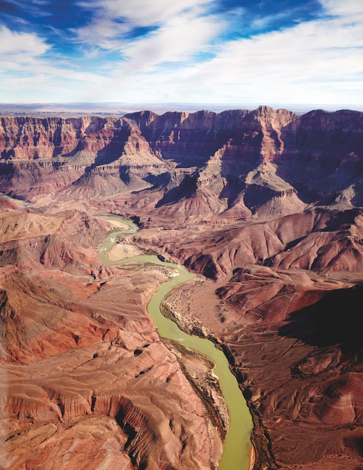 The sections of the Grand Canyon that are divided by the Colorado River.