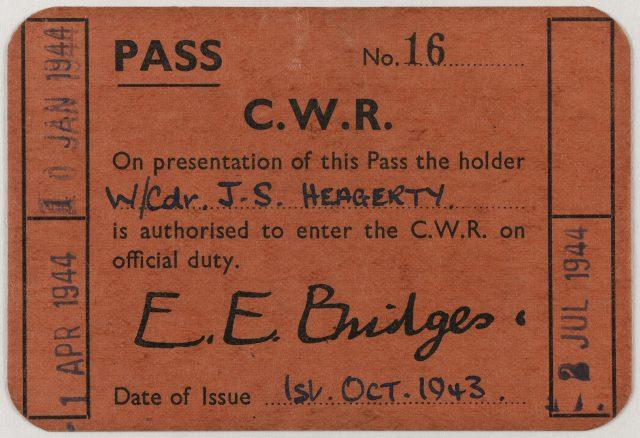 Wing Commander John Heagerty's security pass (Imperial War Museums/PA)
