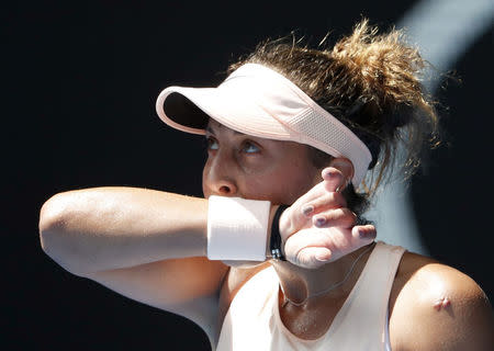 Tennis - Australian Open - Quarterfinals - Rod Laver Arena, Melbourne, Australia, January 24, 2018. Madison Keys of the U.S. reacts during her match against Angelique Kerber of Germany. REUTERS/Edgar Su
