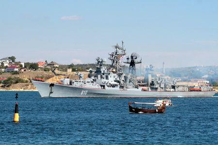 Russian destroyer Smetlivy leaves the harbour at the Crimean port of Sevastopol