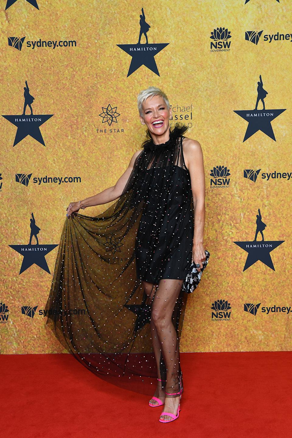 Jessica Rowe attends the Australian premiere of Hamilton at Lyric Theatre, Star City on March 27, 2021 in Sydney, Australia