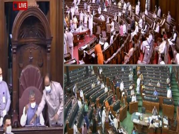 A visual from the Rajya Sabha on Sunday.