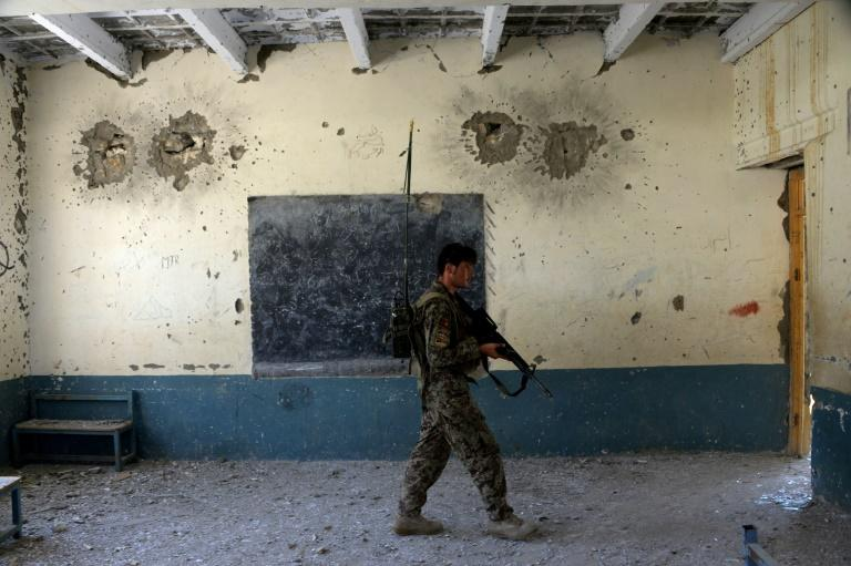 A school in Nangarhar province once used by Islamic State fighters but retaken by Afghan forces last year