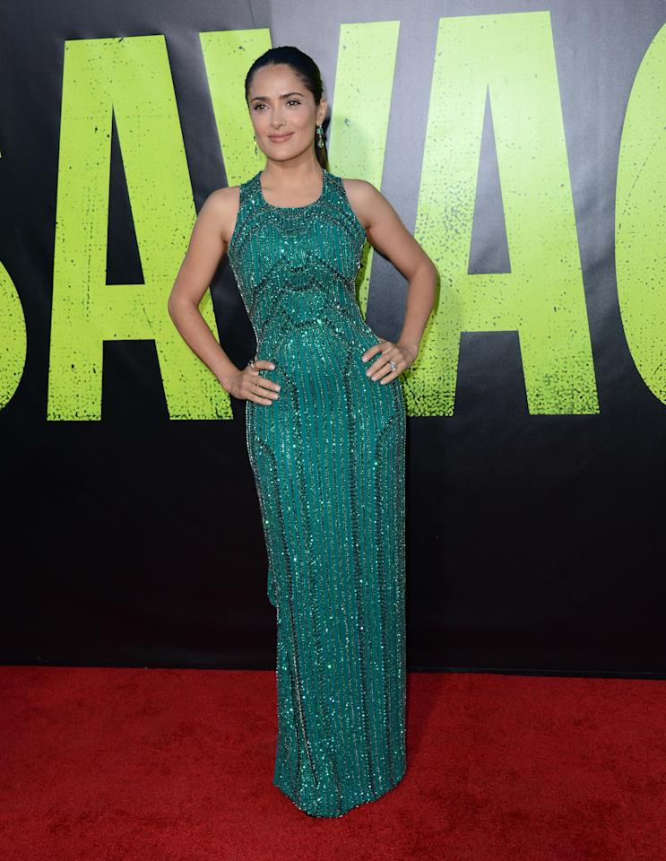"LOS ANGELES, CA - JUNE 25:  Actress Salma Hayek arrives at the premiere of Universal Pictures' ""Savages"" at Westwood Village on June 25, 2012 in Los Angeles, California.  (Photo by Michael Buckner/Getty Images)"