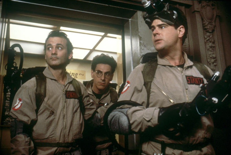 American actor Bill Murray, actors ans screenwriters Harold Ramis and Dan Aykroyd on the set of Ghost Busters, directed by Ivan Reitman. (Photo by Columbia Pictures/Sunset Boulevard/Corbis via Getty Images)