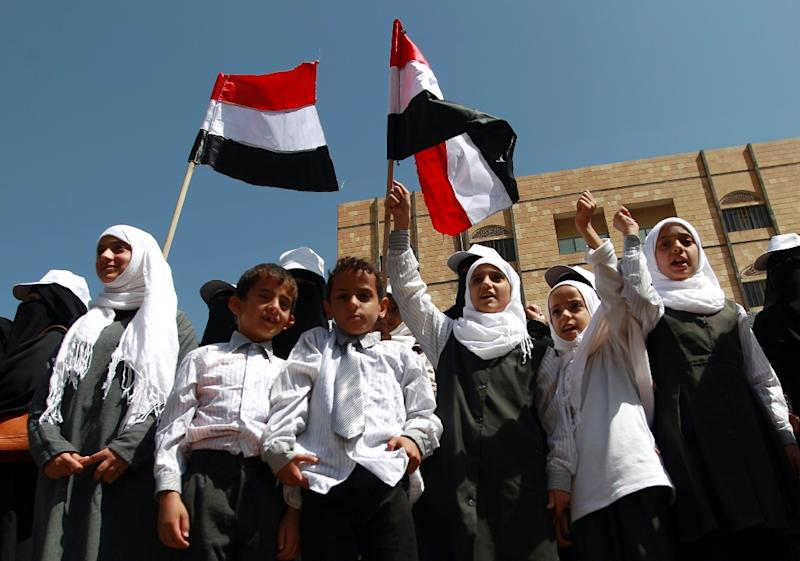 Yemeni children protest in front of the UN office, demanding their right to return to school and calling for an end to military operations carried out by the Saudi-led coalition, on October 27, 2015 in Sanaa (AFP Photo/Mohammed Huwais)