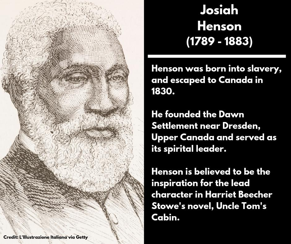 <p><strong>Josiah Henson</strong><br />(1789 – 1883)<br />Henson was born into slavery, and escaped to Canada in 1830.<br />He founded the Dawn Settlement near Dresden, Upper Canada and served as its spirital leader.<br />Henson is believed to be the inspiration for the lead character in Harriet Beecher Stowe's novel, Uncle Tom's Cabin. </p>