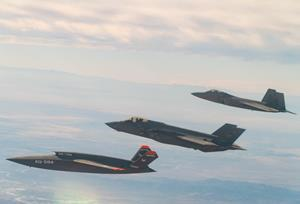 F-22, F-35, and XQ-58A in Formation