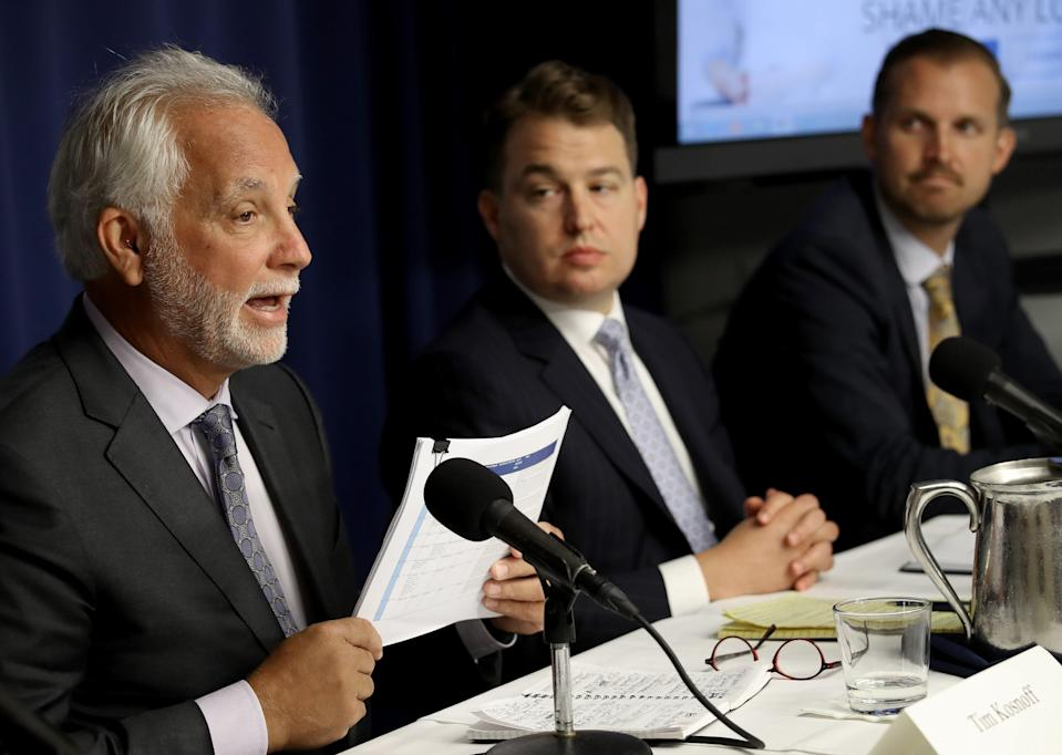 Attorney Tim Kosnoff, left, speaks during a press conference held by the Abused in Scouting legal team on Aug. 6, 2019, in Washington, D.C.