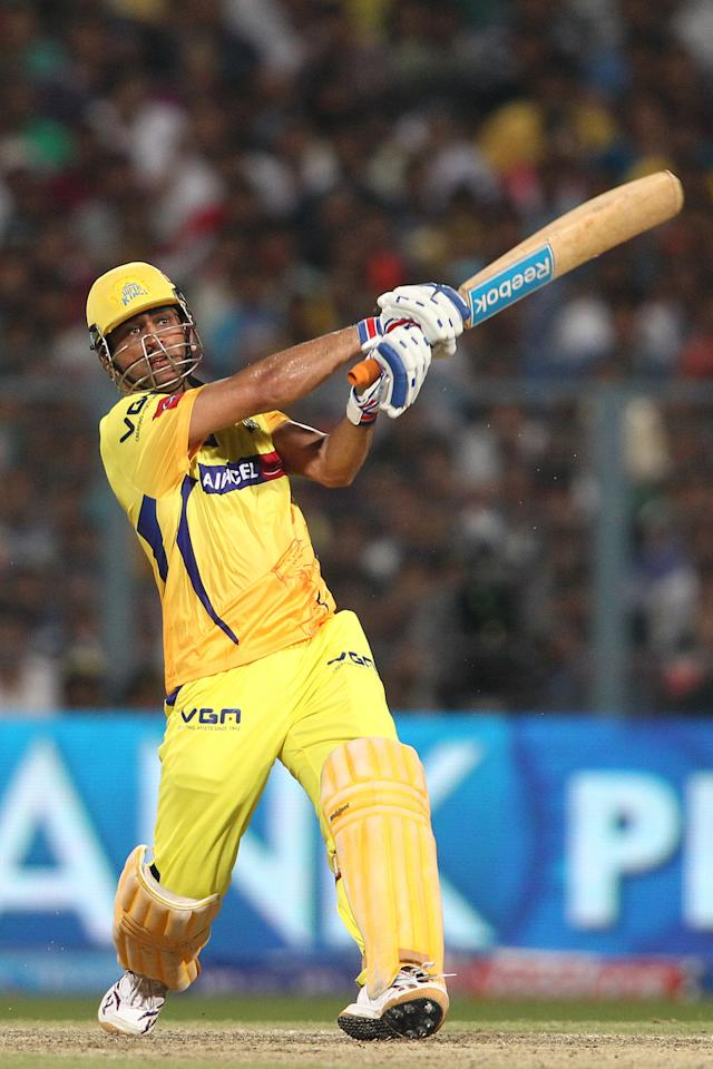 Chennai Super Kings captain MS Dhoni hits over the top for six during the Final of the Pepsi Indian Premier League between The Chennai Superkings and the Mumbai Indians held at the Eden Gardens Stadium in Kolkata on the 26th May 2013..Photo by Saikat Das-IPL-SPORTZPICS       ..Use of this image is subject to the terms and conditions as outlined by the BCCI. These terms can be found by following this link:..https://ec.yimg.com/ec?url=http%3a%2f%2fwww.sportzpics.co.za%2fimage%2fI0000SoRagM2cIEc&t=1498659689&sig=9YmXM.E0bqVk4uuupJOC8Q--~C