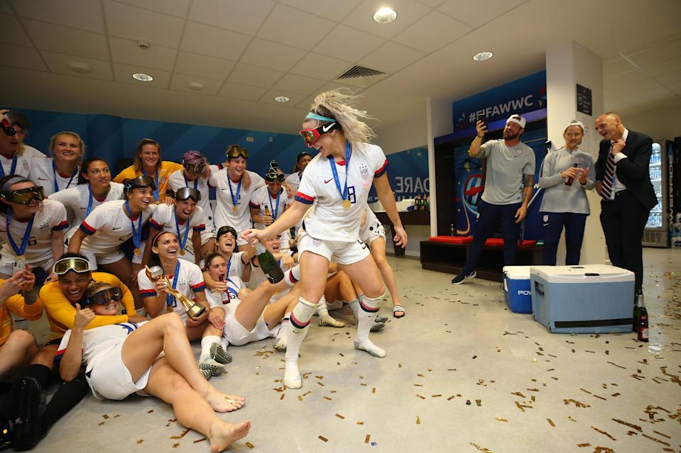 LYON, FRANCE - JULY 07:  Julie Ertz of the USA celebrates in the dressing room following the 2019 FIFA Women's World Cup France Final match between The United States of America and The Netherlands at Stade de Lyon on July 07, 2019 in Lyon, France. (Photo by Maddie Meyer - FIFA/FIFA via Getty Images)