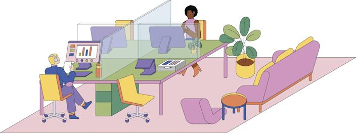 """Fewer people, more lounge space? Architects say office layouts need to adjust for the coronavirus era of design. <span class=""""copyright"""">(Jiaqi Wang / For The Times)</span>"""