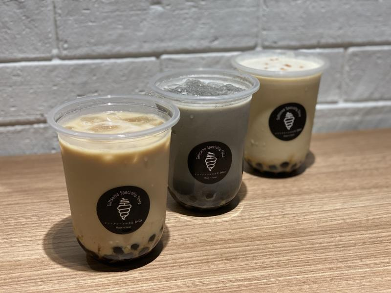 Left to right: Cold Hojicha Latte with brown sugar pearls ($5.80), cold Kurogoma Latte with brown sugar pearls ($5.80) and cold Sencha Latte with brown sugar pearls ($5.80) (PHOTO: Sheila Chiang/Yahoo Lifestyle Singapore)