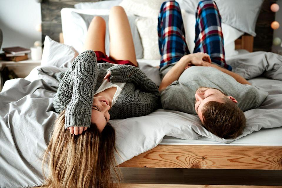 <p>Why? Because you are adorable young adults, damn it. Cozy up under pounds of down feathers and cotton, and let the real world feel miles away. Bonus points if wine is included (but ditch the red if you have white sheets in case one of you spills.) </p>