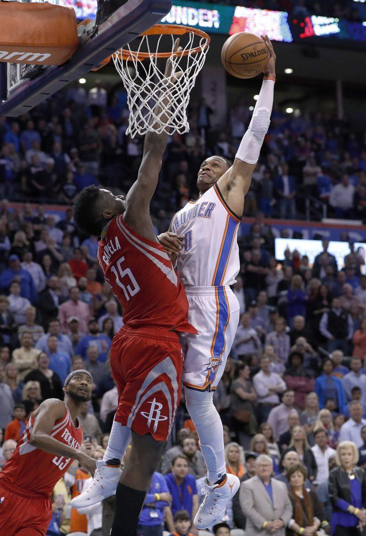 14feabfc73da Russell Westbrook ended Wednesday s game against the Rockets with  authority. (Associated Press)