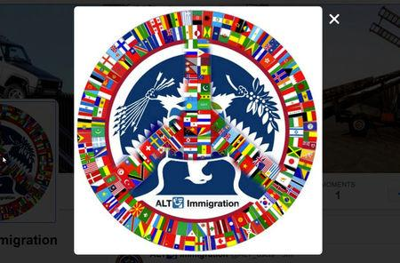The logo for the parody immigration Twitter account @alt_uscis is seen in a screenshot
