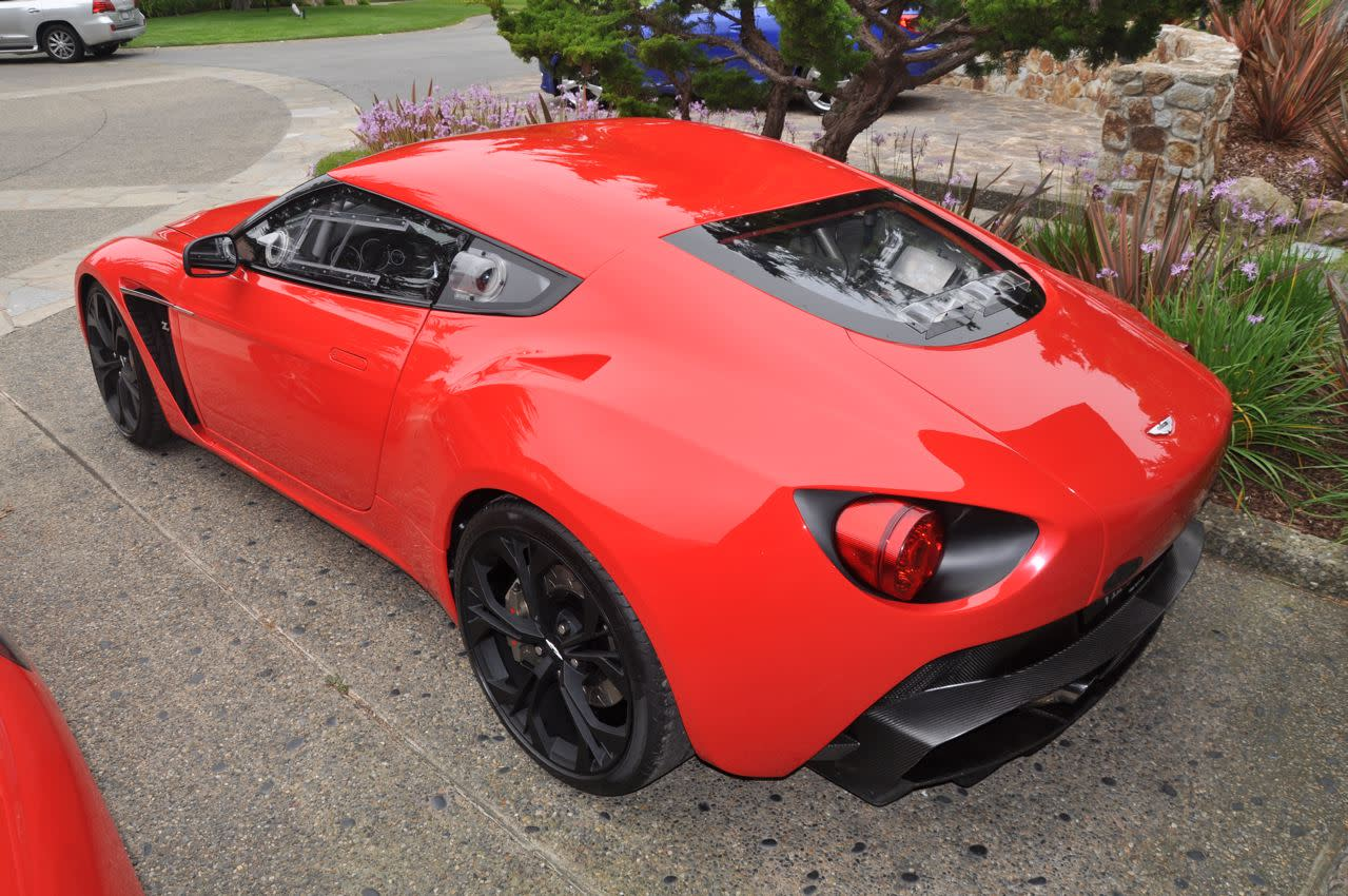 This is the kind of thing you see in the hotel parking lot at Pebble Beach: The Aston V12 Zagato concept. I'd thought that Aston sort of painted itself into a corner with its current styling motif, but I'd like to publicly refute that sentiment. This thing looks wicked. And, more importantly, different from other Astons.