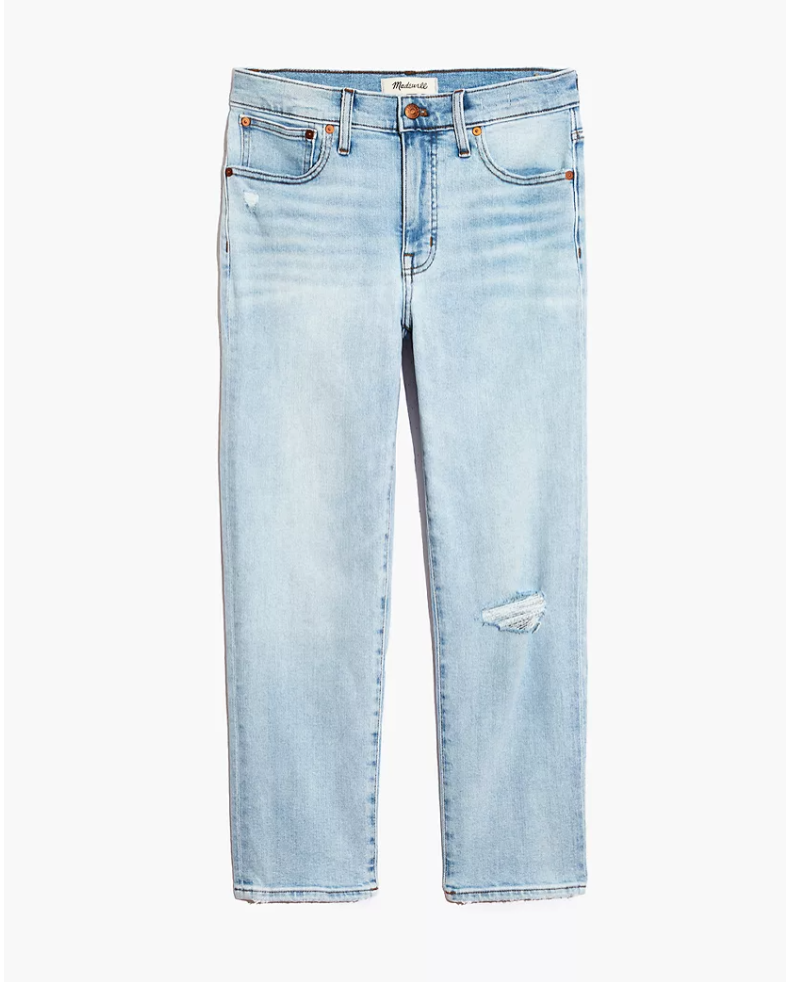"<p><strong>Madewell</strong></p><p>madewell.com</p><p><a href=""https://go.redirectingat.com?id=74968X1596630&url=https%3A%2F%2Fwww.madewell.com%2Fmid-rise-classic-straight-jeans-in-wellingford-wash-knee-rip-edition-AN324.html&sref=https%3A%2F%2Fwww.marieclaire.com%2Ffashion%2Fg34271306%2Fmadewell-jeans-sale-october-2020%2F"" rel=""nofollow noopener"" target=""_blank"" data-ylk=""slk:Shop Now"" class=""link rapid-noclick-resp"">Shop Now</a></p><p><strong><del>$138</del> <del>$79</del> $55 (30% off )</strong></p><p>These top-rated mid-rise beauties feature a subtle knee rip on the right leg. Madewell shoppers love the rise of these straight jeans, with the word 'perfect' echoed in several reviews. One (very relatable) reviewer described described how the mid-rise hit as ""high enough to still do a front tuck with your shirt without it looking awkward, but low enough that I can eat the bowl of ice cream and, yet, still breathe.""</p>"