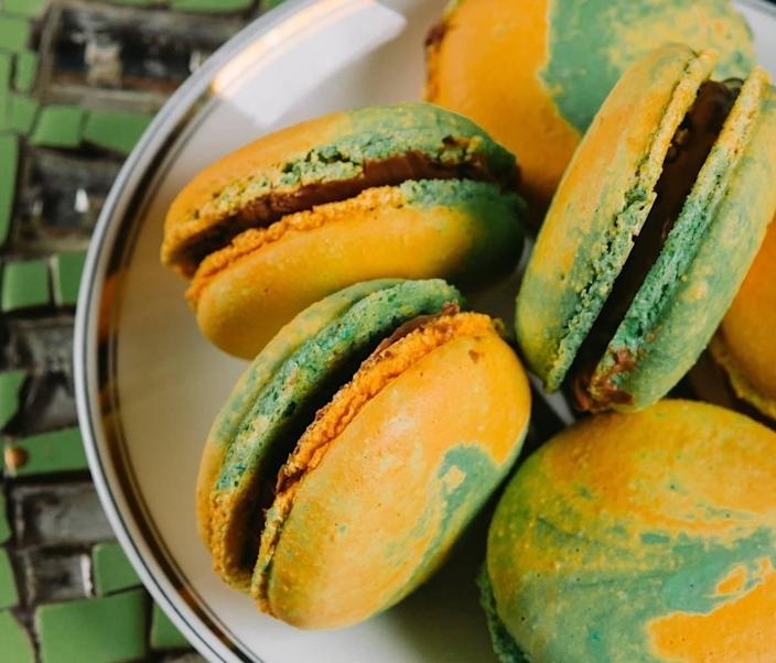 Amelie's French Bakery will offer three themed macaron flavors, including Irish coffee, dark chocolate butterscotch and marshmallow lemon meringue.