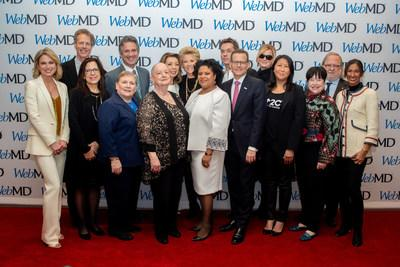 Winners and presenters at the 2019 WebMD Health Hero Awards event in New York City. Left to right: Amy Robach, Bob Brisco, Elizabeth Jaffee, Lillie Shockney, William Nelson, Judy Ochs, Margaret Cuomo, Joan Lunden, Karen Winkfield, Rufus Wainwright, Clifford Hudis, Sandra Lee, Sung Poplete, Kathy Bates, James Allison, and Padmanee Sharma at the 2019 WebMD Health Hero event in New York City