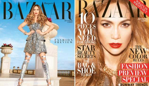 Jennifer Lopez on the covers of Harper's Bazaar, February 2013 (subscriber and newsstand) -- Katjia Rawles for Harper's Bazaar