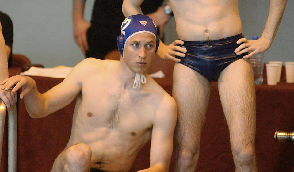 <p>Prince William during a break while making his water polo debut for the Scottish national universities squad in the annual Celtic Nations tournament against Wales and Ireland in Cardiff, in April 2004. (Barry Batchelor/AFP via Getty Images)</p>