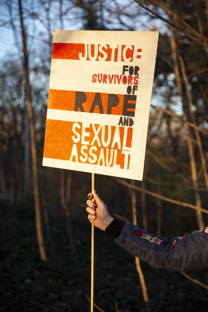 A rape survivor in Prospect Park in Brooklyn on Dec. 10, 2020. (Alexia Webster/The New York Times)