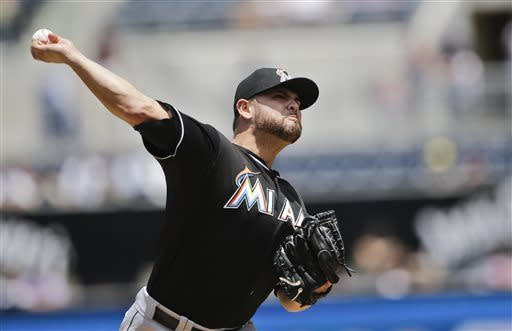 Miami Marlins starting pitcher Ricky Nolasco works against the San Diego Padres in the first inning of a baseball game in San Diego, Wednesday, May 8, 2013. (AP Photo/Lenny Ignelzi)